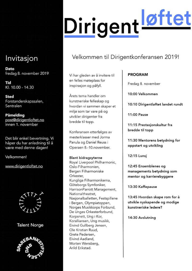 Dirigentloftet konferanse 19 invitasjon