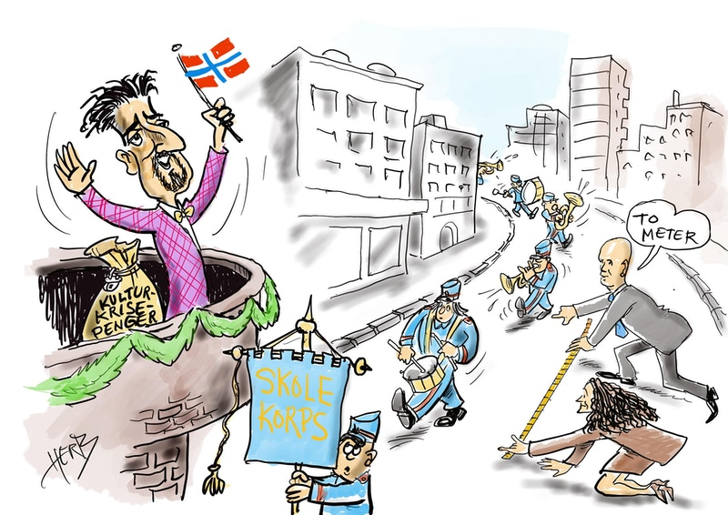 Kulturministeren korpsene og krisepakke 2 illustrasjon Herb