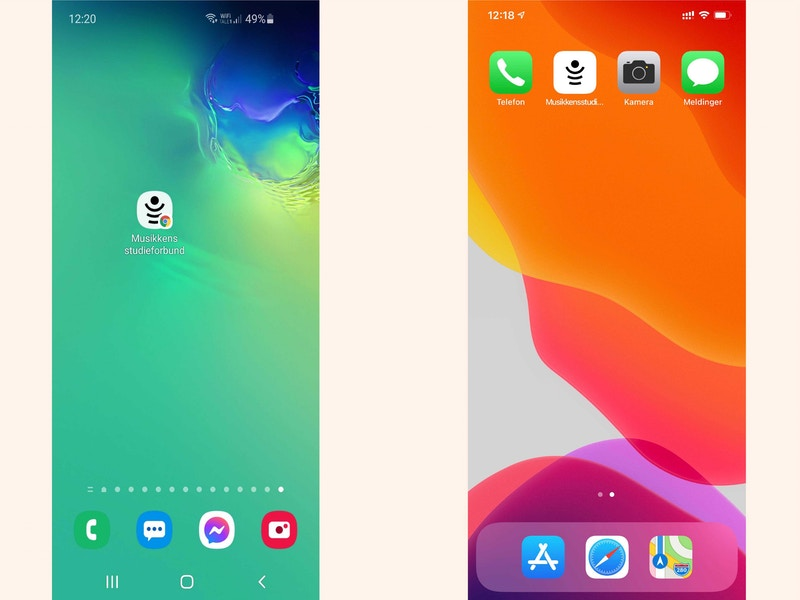 Skjermbilder app hjemskjerm uten ramme