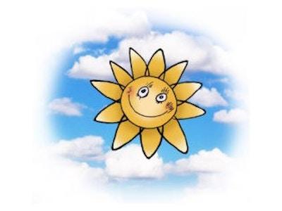 Bare sol i bla bakrunn 632x421